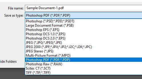 save as photoshop pdf