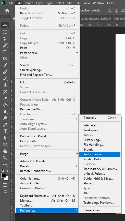 performance settings photoshop