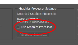 Use Graphics Processor photoshop