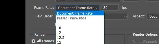 document frame rate photoshop export video
