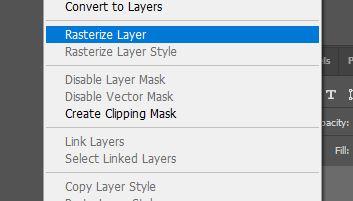 rasterize layer photoshop