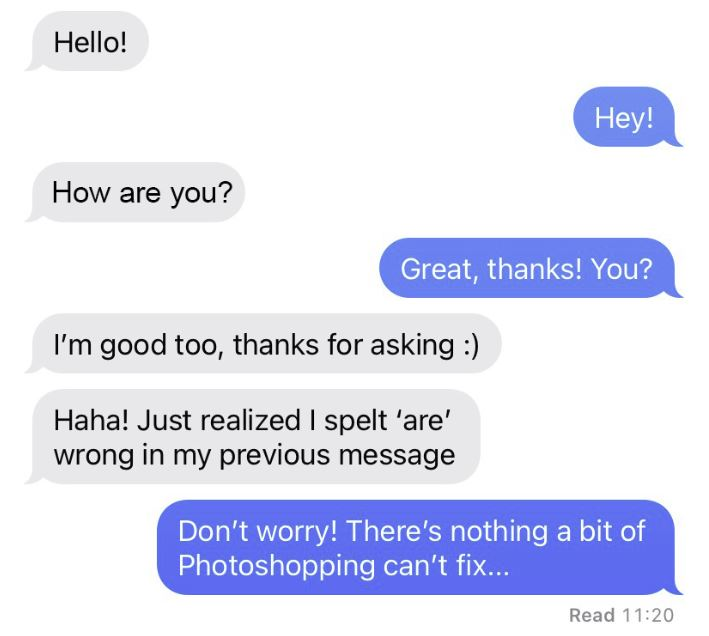 modified text message with photoshop
