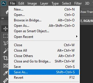 save as command in photoshop