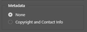 export as metadata option